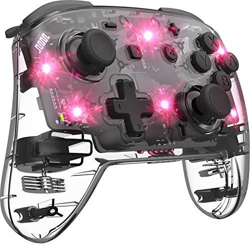 Manette Switch Transparente LED 8 Couleurs Adjustable, Manette Pro Sans Fil pour Nintendo Switch, Gamepad de Jeu Vibration & Turbo Réglable Switch Controller Effet de Lumière Respiratoire
