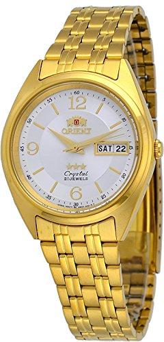 Orient FAB0000CW - Reloj automático para hombre, 3 estrellas, tono dorado, esfera plateada y blanca