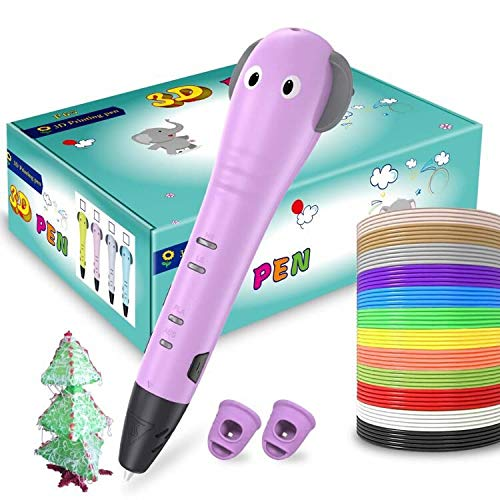 3D Pen for Kids, ERAY 3D Printer Printing Pen 3D Drawing Pen, Cartoon Design/ 12 Colors 118 Feet PLA Filaments/Non-Toxic/Safety to Use/Gift Box for Birthday Christmas Holiday (Pink)