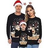 UJUNAOR Familie Festliche Gestrickte Pullover Weihnachtspullover Rundhals Sweater Strickpullover...