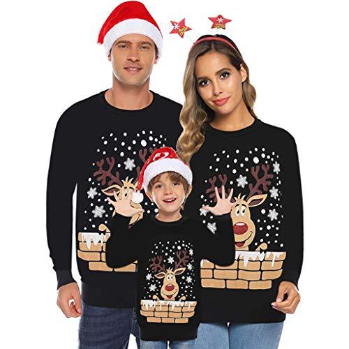 Fannyfuny Familie Festliche Weihnachtsshirt Set Rundhals Langarm T-Shirt Oberteile Tops Herbst Winter Langarmshirt Bluse Weihnachten Shirt Christmas Pullover Schwarz Rot M-XXL
