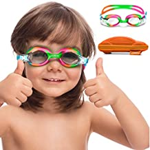 Kids Swim Goggles || Swimming Goggles for Kids (Age 2-8 Years Old) with Fun Car Hardcase for Easy Transportation || Cushioned Frames || Anti Fog Lenses || UV Protection || (Rainbow)