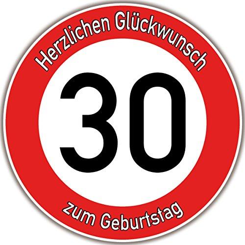 Tortenaufleger Fototorte Tortenbild Warnschild 30. Geburtstag rund 14 cm GB06 (Zuckerpapier)