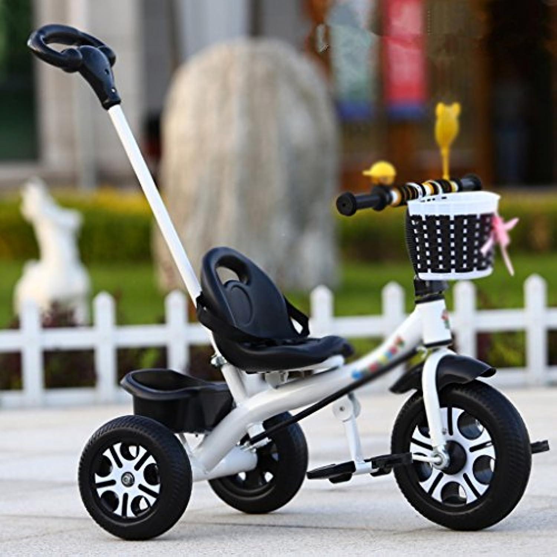Kinder-Dreirad-einzelne Rod-Umweltschutz-schumende Rad-Laufkatze 1-5 Jahre Altes Fahrrad (Farbe   Wei)