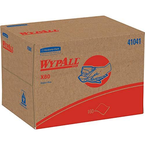 Wypall - KCC41041 X80 Reusable Wipes (41041), Extended Use Cloths BRAG Box Format, Blue, 160 Sheets / Box; 1 Box / Case