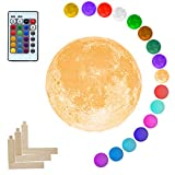 Mydethun Moon Lamp 16 Colors LED 3D Print Cool Moon Night Light with Stand Remote Touch Control and USB Rechargeable Gift for Women Baby Kids Birthday Party Home Décor(3.9 Inch with Wood Base)