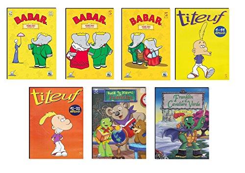 Offerta 7 DVD Cartoni Animati per Bambini, Animazione età Prescolare Titeuf, Babar e Franklin NO Walt Disney, Idea Regalo Bambini 3- 6 Anni