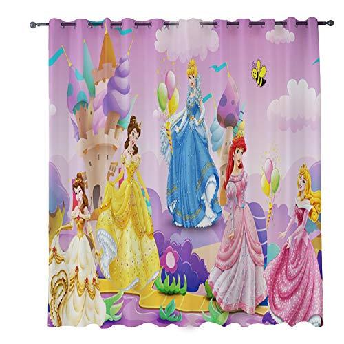 Kinderzimmer Gardinen Vorhänge Blickdicht, Kindervorhang Mädchen Disney Princess Prinzessin, Geräuschreduzierung Verdunkelungsvorhänge Ösenschal Gardinen 150 x 166cm