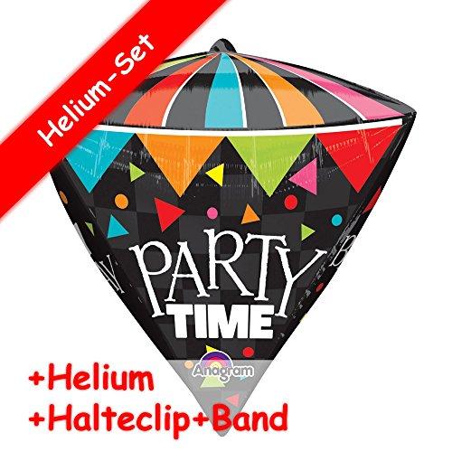 Folieballonset * Party Time/Happy birthday * + Helium vullen + steunclip + band * voor kinderverjaardag en themafeest // kinderverjaardag folie ballon helium decoratie ballongas motto party-time