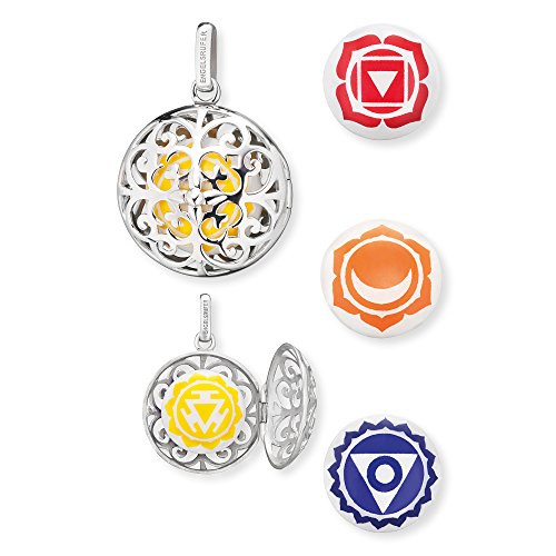 Engelsrufer Damen Anhänger Set aus 925er Sterlingsilber mit 4 austauschbaren Klanglinsen Solarplexus-, Wurzel-, Sakral- und Halschakra