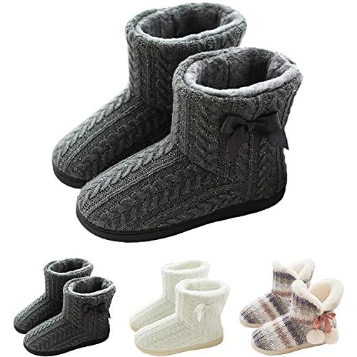 pantofole donna alte GURGER Pantofole a Stivaletto Donna Invernali Peluche Calde Pantofole da Casa Collo Alte Chiuse Grigio 37 38