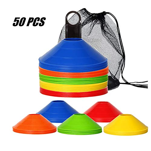 IROCH 50 Pack Soccer Cones Disc Cone Sets with Holder and Bag for Training,Field Cone Markers Football,Kids,Sports (Colorful)