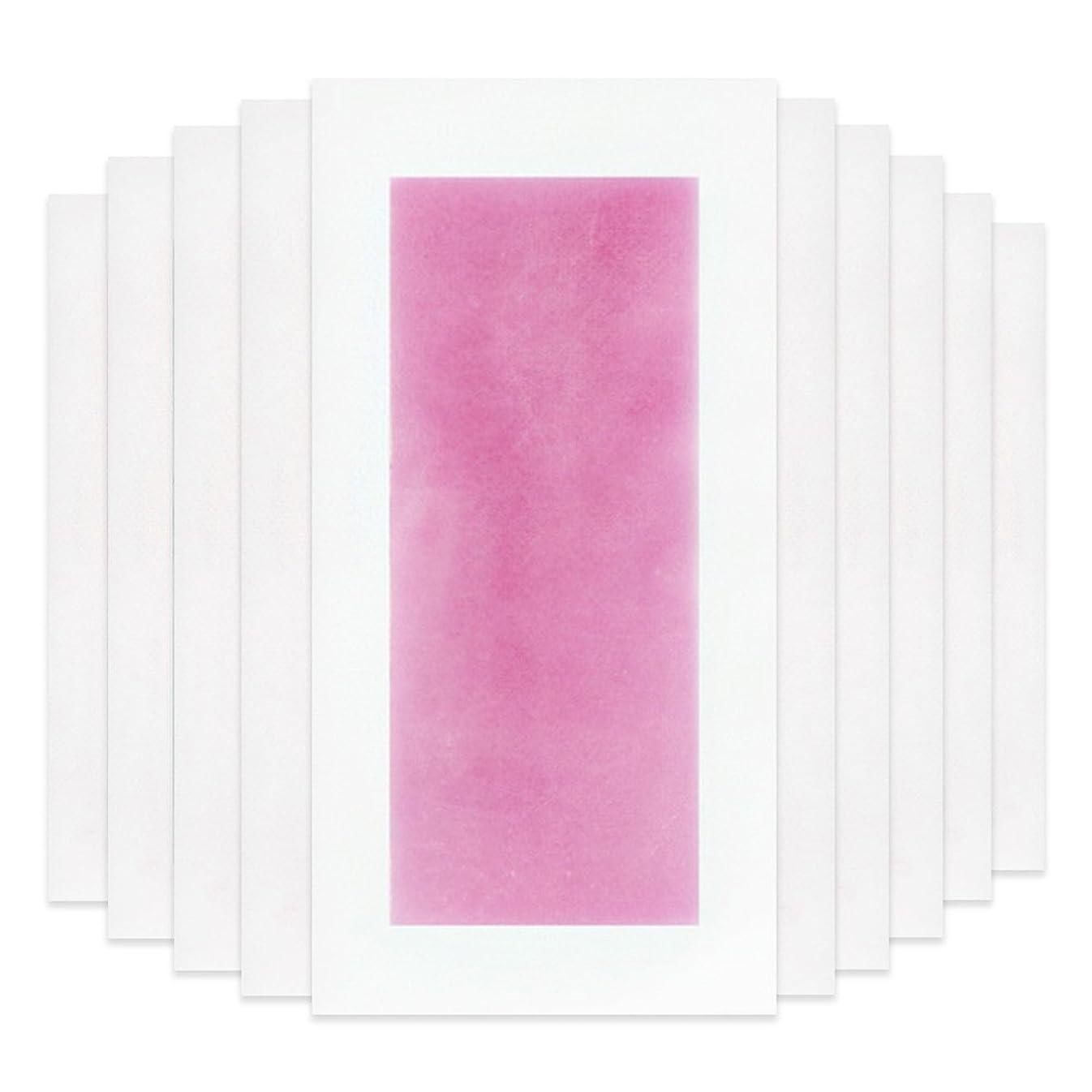 火星学士講堂Rabugoo セクシー 脚の身体の顔のための10個のプロフェッショナルな夏の脱毛ダブルサイドコールドワックスストリップ紙 Pink