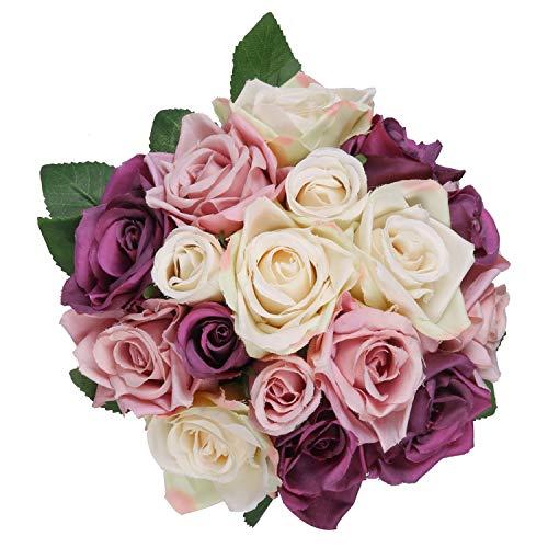 Pauwer Künstliche Seidenblumen Rosen 2 Blumenstrauß 18 Köpfe Rose Gefälschte Blumen Braut Hochzeitsblumenstrauß für Haus Garten Party Blumenschmuck (Lila / Rosa Rose)
