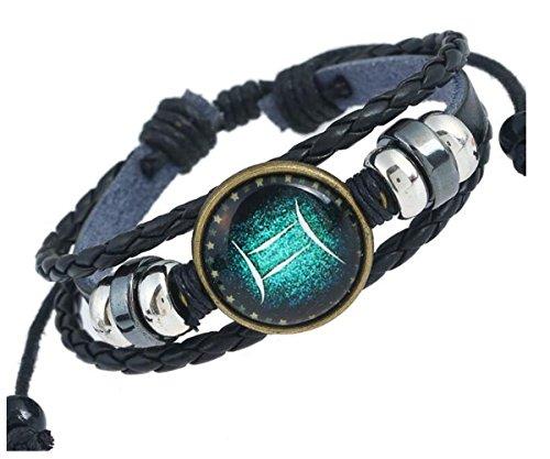 MeiPing Uomo 12 Constellation segno zodiacale Logo incanta il braccialetto Gemini02