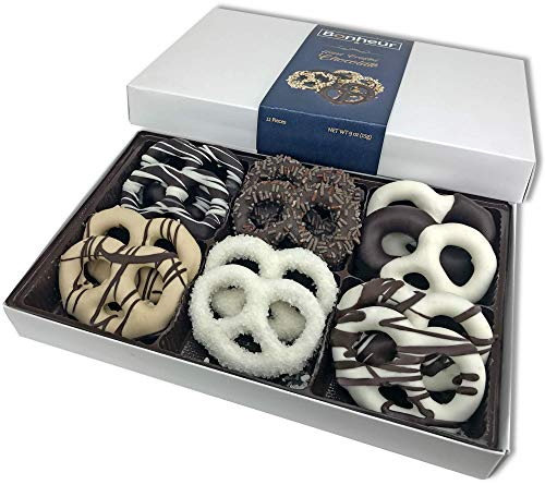 Bonheur Handcrafted Chocolate Covered Pretzels – Gourmet Chocolates – Dairy Free Chocolate Gift Box for Valentine Day Christmas Birthdays Get Well – Kosher Chocolate Box – 12 Pack Classic
