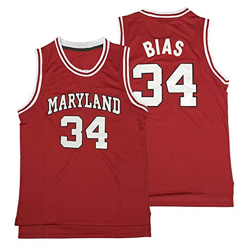 N-A Men's Len 34 Bias Maryland Terrapins Movie Basketball Jersey Stitched Red Size S