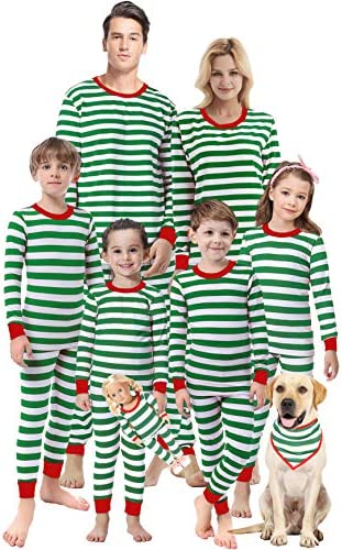 Matching Family Christmas Girls Boys Striped Pajamas Children Clothes Sleepwear Men XL product image