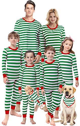 Matching Family Christmas Girls Boys Striped Pajamas Children Clothes Kids Sleepwear Men XL