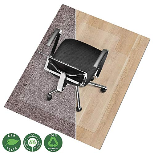 Office Marshal Chair Mat for Carpet with Lip | Eco-Friendly Series Chair Floor Protector | 100% Recycled (PET) Floor Mat for Office or Home Use | Multiple Sizes | Translucent - 30'' x 48''