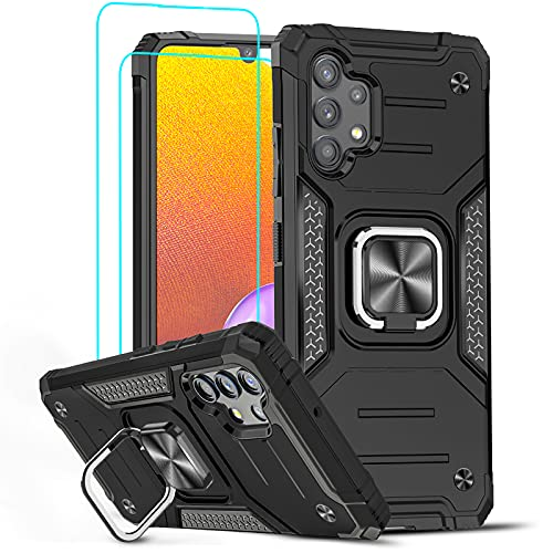 LeYi Coque pour Samsung Galaxy A32 4G avec 2 Verre trempé Anneau Support, Double Renforcée Défense Intégrale Bumper TPU Silicone Protection Full Body Antichoc Etui Housse pour Samsung A32 4G Noir