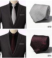 洗える ネクタイ 2本/セット メンズ ネクタイ おしゃれ 高級 チェック柄 小紋 格子 ストライプ ビジネス 結婚式 父の日 プレゼント (Color : 6)