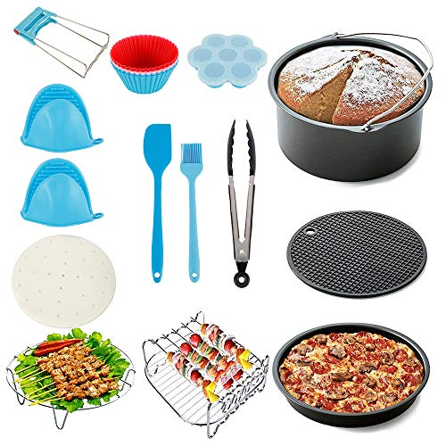 An image of the 7 Inch Universal Air Fryer Accessories 17pcs Fryer Accessories with Recipe Cookbook Compatible for Growise Phillips Cozyna or More Brand, Fits All 3.2QT-5.3QT-5.8QT