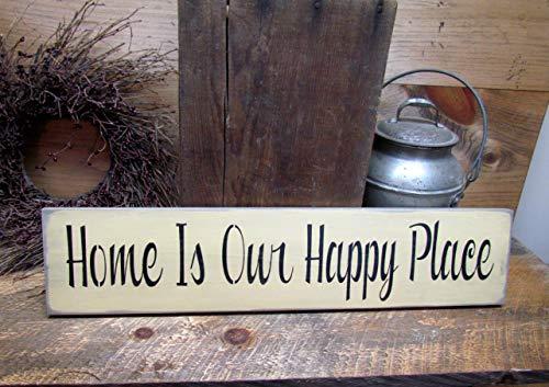 onbekend muurkunst huisbord, huis is onze gelukkige plaats, houten teken zegt, huisdecoratie, huisopwarming geschenk, huisbord, tekenen met zinnen, houten bord, houten plaque, op maat cadeau