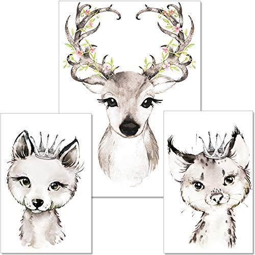 artpin® 3er Set Poster Kinderzimmer - A4 Bilder Babyzimmer - Deko Mädchen schwarz-weiß Reh Luchs Fuchs P31
