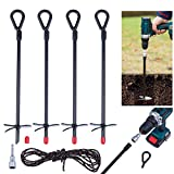 KRAVELDS Ground Anchor Earth Tent Stakes Heavy Duty 15 inch for Metal Carport Canopy Garden Shed Tree Swing Sets (4 Pack)