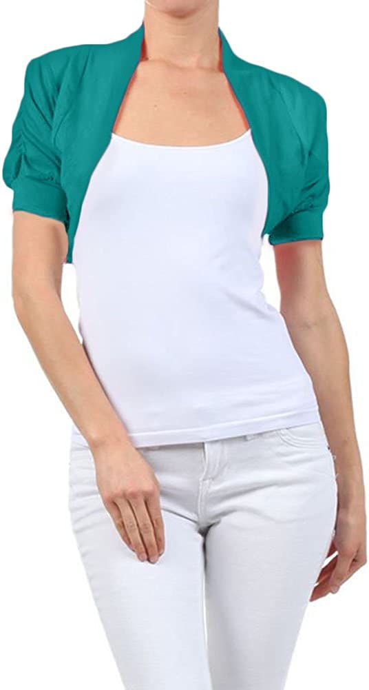 Ambience Solid Cotton Shirred Ruched Short Sleeve Bolero Crop Shrug