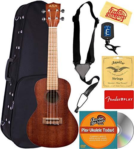 Kala KA-15C Satin Mahogany Concert Ukulele Bundle with Hard Case, Tuner, Strap, Strings, Fender Play Online Lessons, Austin Bazaar Instructional DVD, and Polishing Cloth