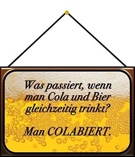 Metalen bord 20 x 30 cm gebogen met koord Cola en Bier spreuk Humor Grappige spreuken decoratie geschenk bord