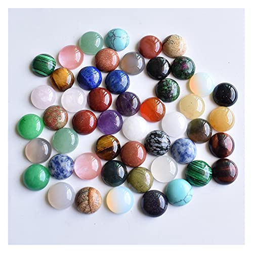 YSJJSQZ cabujón Moda Cuentas de Piedra Natural Redonda Mixtas para Accesorios de joyería 12mm al por Mayor 50pcs / Lot (Color : Mix, Item Diameter : 12mm)