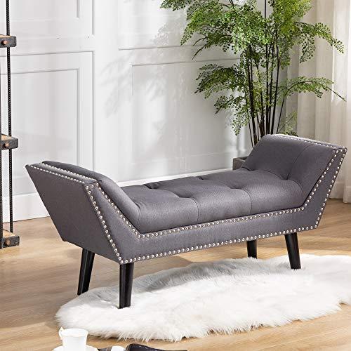DAGONHIL Rectangular Ottoman,Linen Upholstered Bench,Vintage Casual Footstool for Living Room (Gray)
