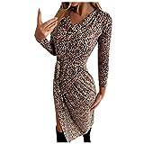 AMUSTER Damen Elegant Tunika Kleid Kurz Kleider Bodycon Leopardenmuster Langarm Minikleid mit Gürtel Partykleid Wickelkleider