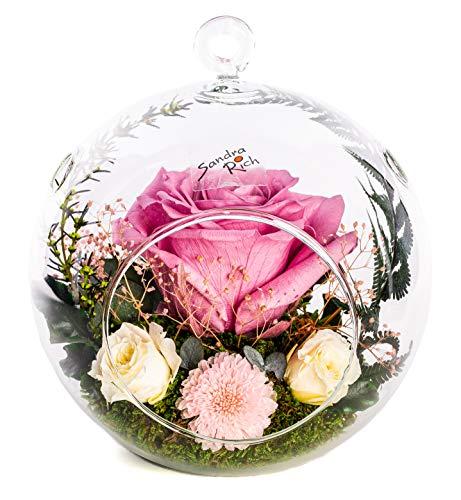 Rosen-Te-Amo Elegantes Gesteck aus 4 konservierte Blumen in hängende Vase; PREMIUM Rosen-Deko handgefertigt aus 100% echtes Bindegrün – Geschenk für exklusive Anlässe