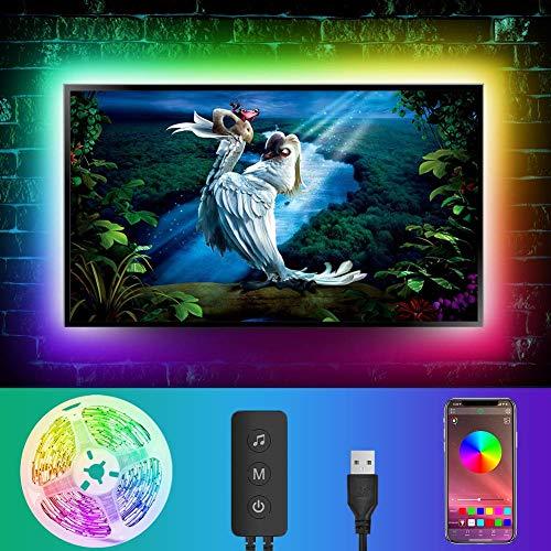 Retroilluminazioni TV LED 4M   13FT 5050 RGB Light Strip Musica Sincronizzazione Musica Colore Cambiamento Bias Illuminazione per 5-65in, USB Powered per PC Monitor Gaming Room, App Control