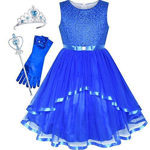 Sunny Fashion Flower Girls Dress Cobalt Blue Princess Crown Dress Up Party Size 6