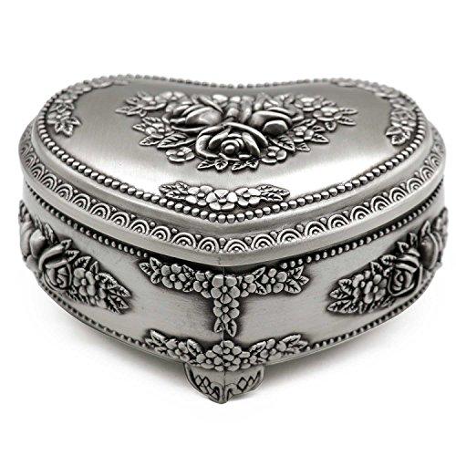 AVESON Classic Vintage Heart Shape Metal Jewelry Box Ring Trinket Storage Organizer Chest, Medium