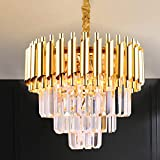 Modern Crystal Pendant Light 3 Tiers Crystal Chandelier Round Chandelier Flush Mount Ceiling Lighting Fixture for Living Room Dining Room Table Restaurant,E12x5 Lights,Gold