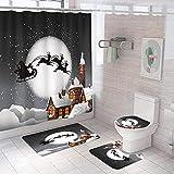 Ensemble de rideaux de douche Traîneau de cabane au clair de lune noir blanc jaune avec tapis antidérapants,housse de WC et tapis de bain,rideau de bain Polyester imperméable durable 150×180 cm