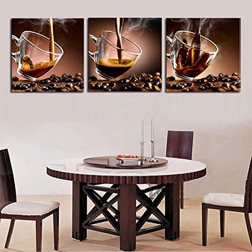 Impresión en lienzo Decoración Lienzo Imagen de arte Impresión de pintura Decoración de taza de café de lujo para la pared del hogar moderno Comedor 3 piezas 50x50cm sin marco