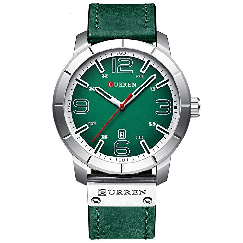 Curren Reloj de pulsera masculino grande esfera digital correa de cuero reloj de cuarzo casual verde 8327