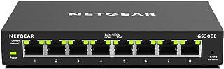 NETGEAR GS308E Switch 8 Port Gigabit Ethernet LAN Switch Plus (Plug and Play, Managed Netzwerk Switch mit IGMP Snooping, QoS und VLAN, lüfterlos, robustes Metallgehäuse)