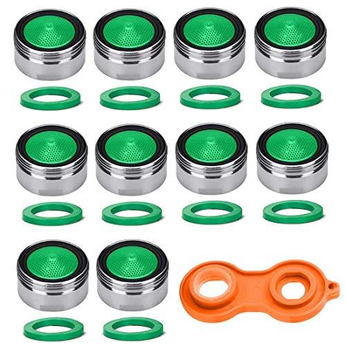 Voarge 10 Stück Strahlregler M24, Wasserhahn sieb Einsatz, Mischdüse mit ABS-Filter inkl 1 Stück Schlüssel, 10 Stück Pad für Wasserhähne