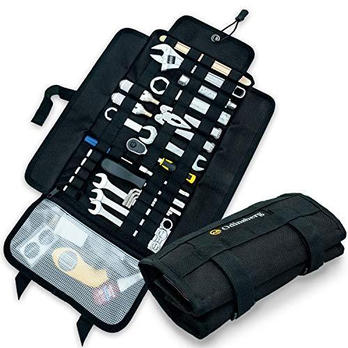 Heavy Duty Tool Roll Werkzeugrolle für Motorrad ohne Inhalt - Werkzeugtasche mit Taktischem MOLLE System, 56 elastische Schleifen und Innentasche, um Ihre Werkzeugmappe zu verwalten