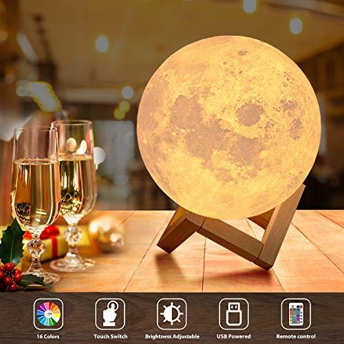 OxyLED Led-maanlamp, 18 cm, met afstandsbediening, gekleurde decoratieve lamp, 3D, maan, kunstled, RGB, maanlicht, draagbaar nachtlampje met dimbaar, 16 lichtkleuren wisselen, kerstcadeau, verjaardagscadeau