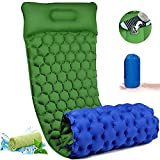 Inflatable Sleeping Mat Pad with Foot Pump, Ultralight Camping Mattress with Pillow, Waterproof Leak-proof Inflating Single Bed, Portable Air Pad Mat for Backpacking,Camping,Travel (Green)