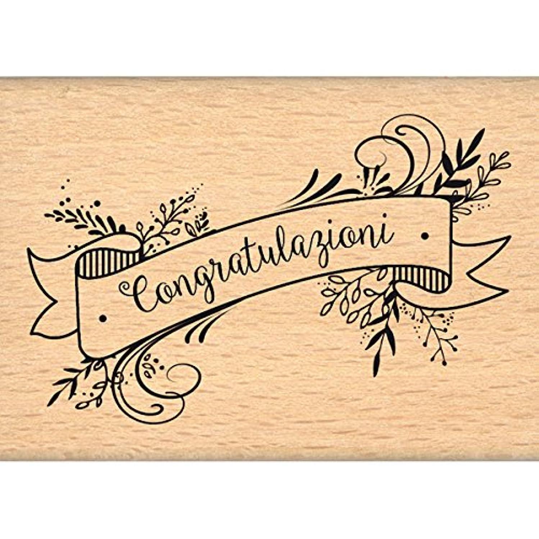 Florilèges Congratulazioni Design Stamp, Wood, 5?x 7?x 2.5?cm